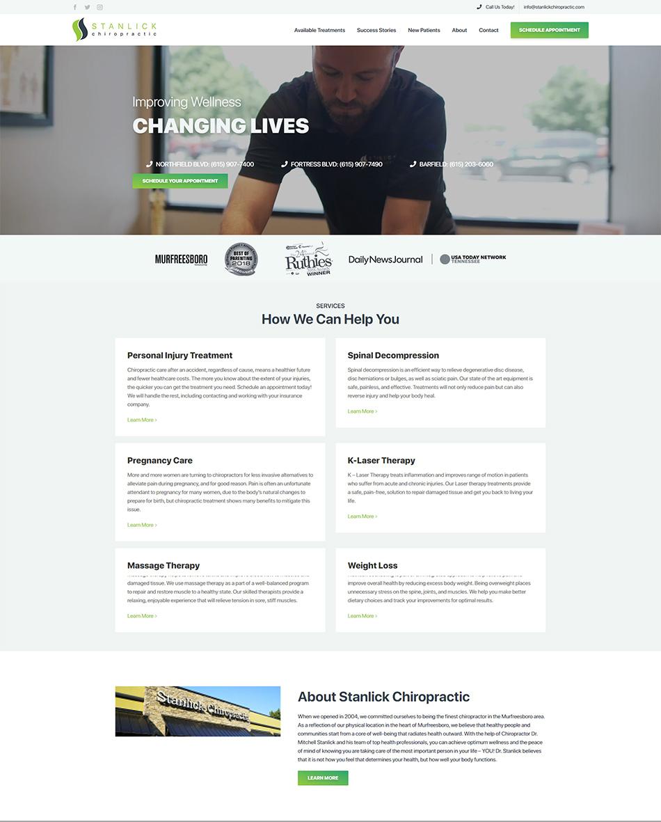 chiropractic marketing website homepage example
