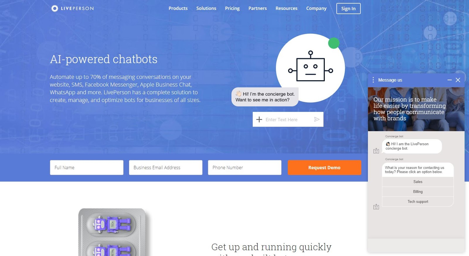 landing page trend chatbot