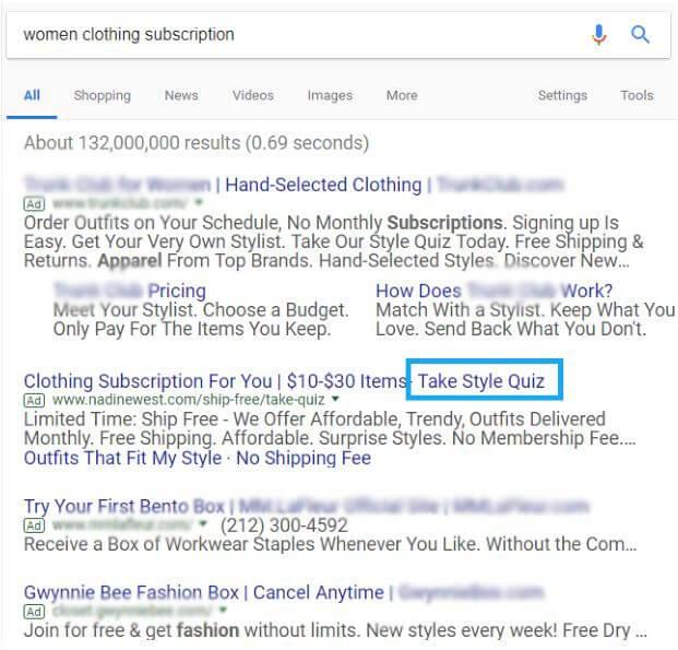 Womens Clothing Subscription Google Ads CTA