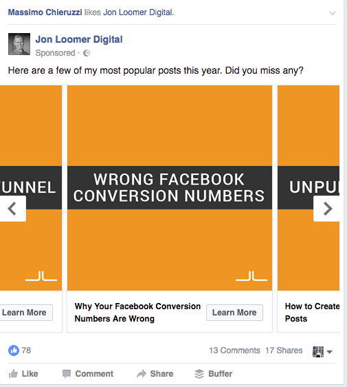 Facebook ad for content