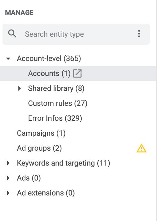 Navigation Google Ads Editor