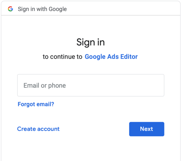 Google Ads Editor Sign In