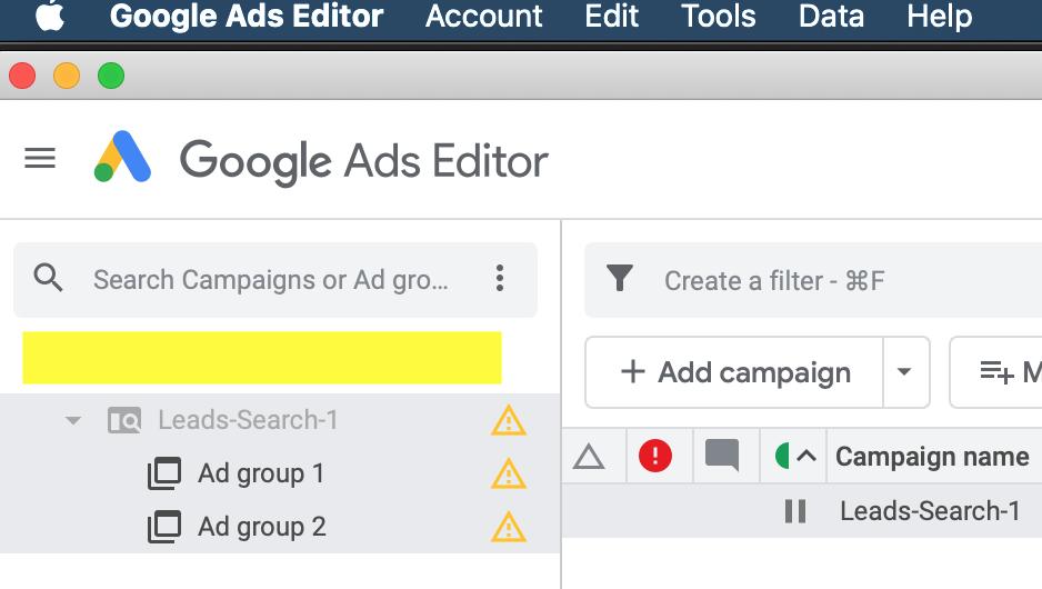 Google Ads Editor Navigation