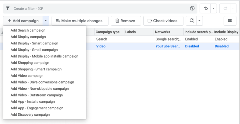 Google Ads Editor Campaign Types