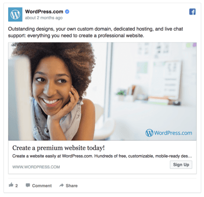 Wordpress facebook ad example