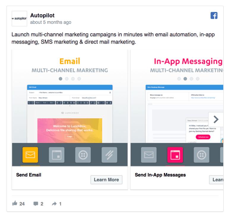 autopilot Facebook ad example