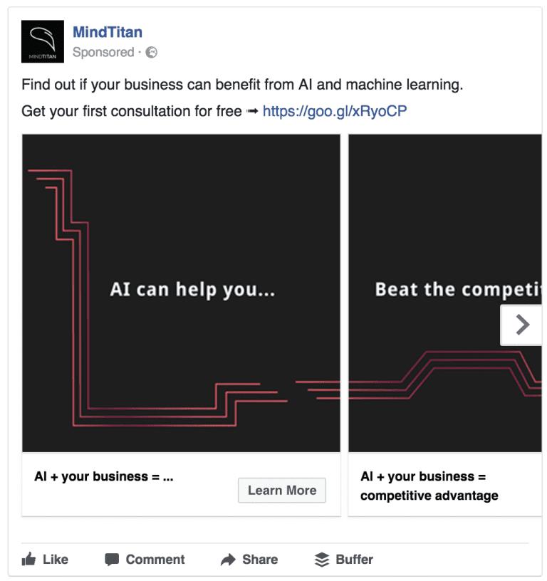 mindtitan facebook ad example