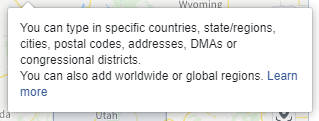 Facebook ad location targeting info