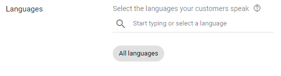 language settings for local business ppc