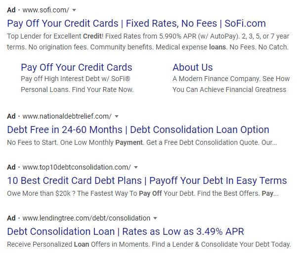debt consolidation ad examples