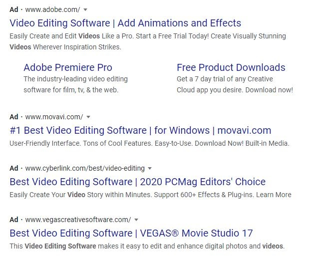 video editing software ad examples