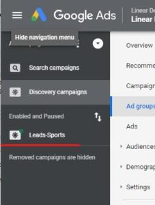 Navigate back to Discovery campaign