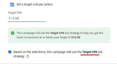 Target CPA bidding