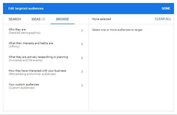 Targeting audiences options
