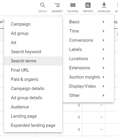 navigate to search terms report