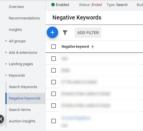 negative keywords add